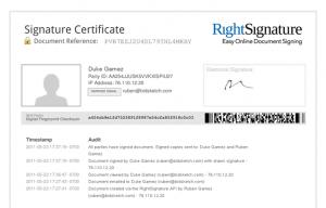 Signature Certificate