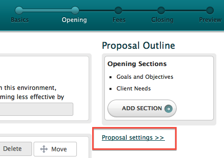 Proposal Settings Link
