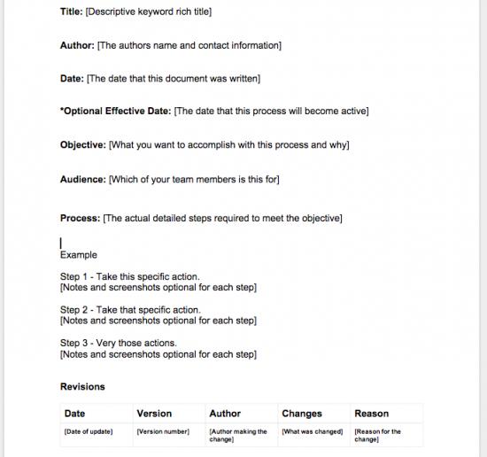 Sample Process Template