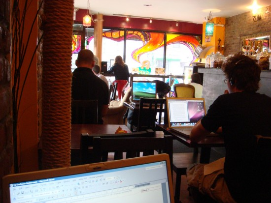 Working from a coffee shop
