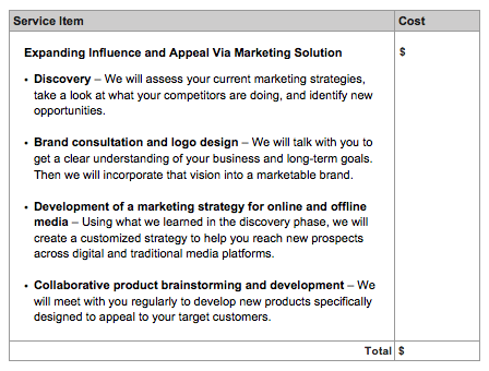 marketing proposal template pricing section