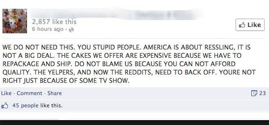 Caustic Nasty Social Media Message