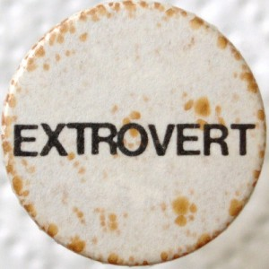 "A button with ""Extrovert"" written on it."