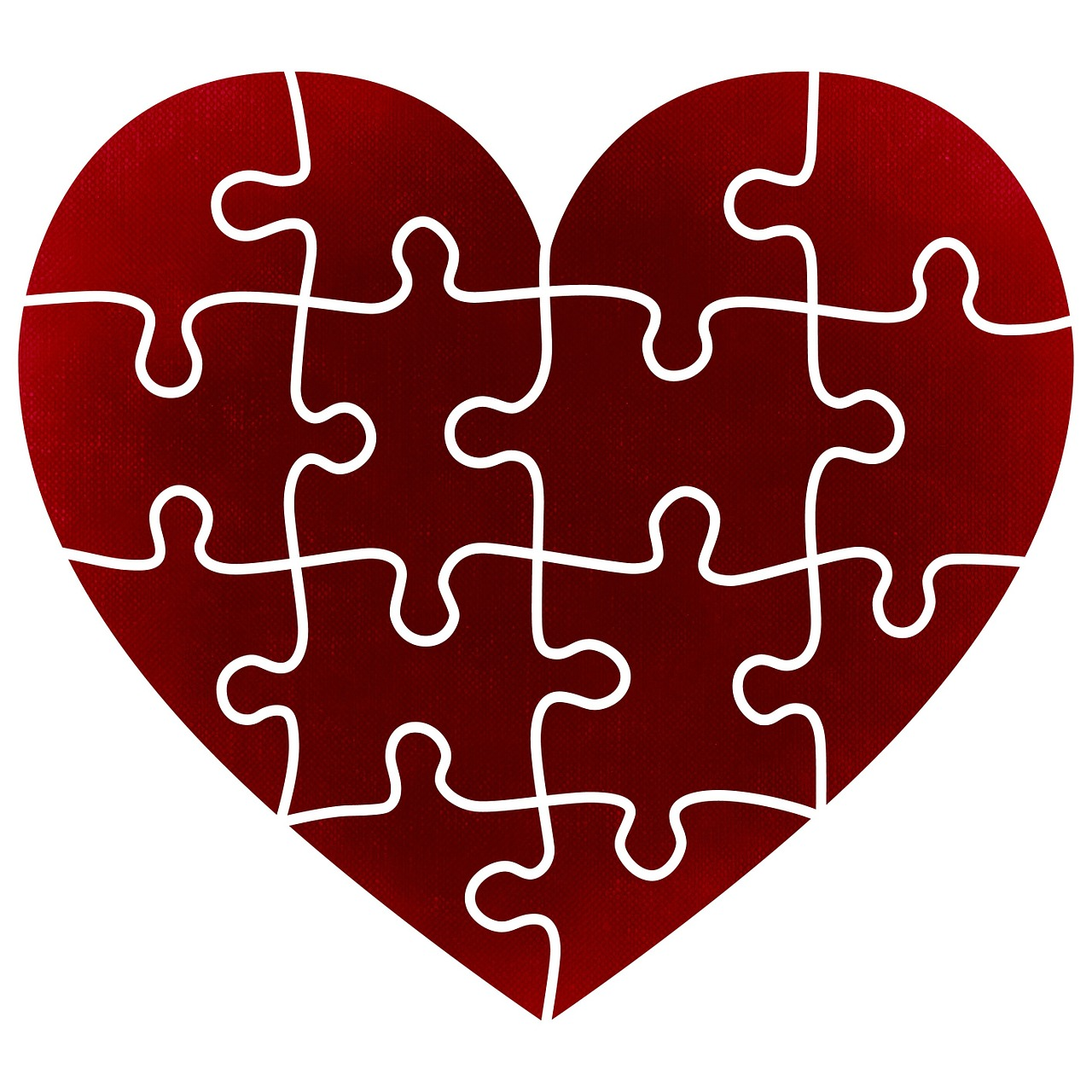 A jigsaw shaped as a heart.