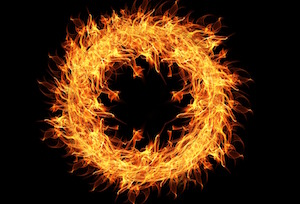 A burning ring of fire.