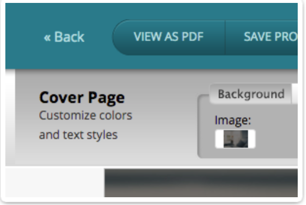 A view of the Cover Page option within Bidsketch.