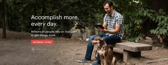 The ToDoist home page.